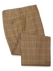 Wool Flannel Check Flat Front Pant
