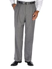100% Wool Flannel Glen Plaid Pleated Pants