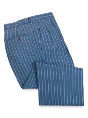 Linen Stripe D-Ring Waist Pleated Front Pants