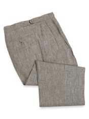 Linen Plaid D-Ring Waist Pleated Front Pants