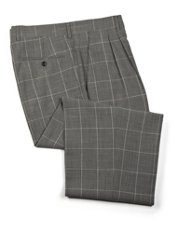 Wool Windowpane Pleated Front Pants