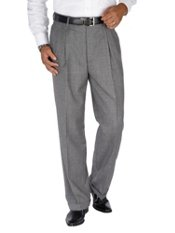 100% Wool Flannel Houndstooth Pleated Pants