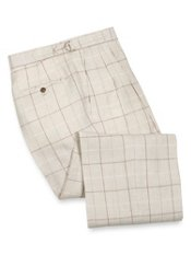Linen Windowpane D-Ring Waist Pleated Front Pants