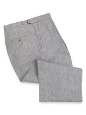 Linen Houndstooth D-Ring Waist Pleated Front Pants