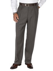100% Wool Flannel Stripe Pleated Pants