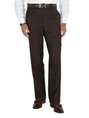 100% Wool Flannel Stripe Flat Front Pants