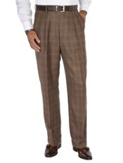 100% Wool Flannel Windowpane Pleated Pants
