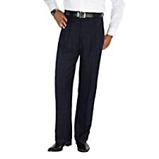 100% Wool Flannel Windowpane Pleated Pants