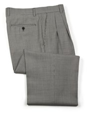 Wool Houndstooth Pleated Front Pants