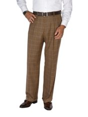 100% Wool Flannel Check Pleated Pants