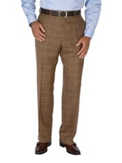 100% Wool Flannel Check Flat Front Pants