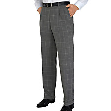 100% Wool Windowpane Pleated Pants