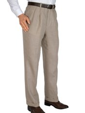 100% Linen Solid Pleated Pants