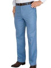 100% Linen Solid Flat Front Pants