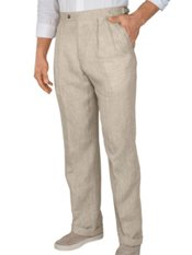 Delave Linen Solid D-ring Pleated Pants