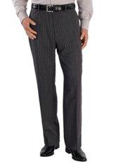 100% Wool Flannel Stripe Flat Front Pants