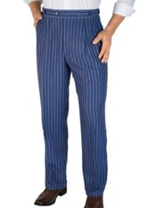 100% Linen Stripe D-ring Pleated Pants