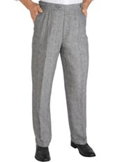100% Linen Plaid D-ring Pleated Pants