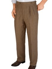 100% Linen Houndstooth D-ring Pleated Pants
