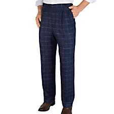 100% Linen Windowpane D-ring Pleated Pants