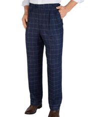 100% Linen Windowpane D-ring Pleated Pants