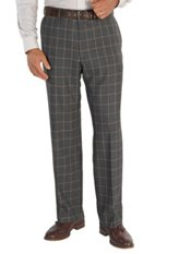 100% Wool Flannel Windowpane Flat Front Pants