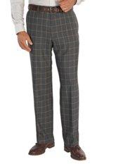 100% Wool Flannel Windowpane Flat Front Pants