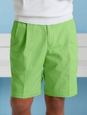 Cotton Chino Pleated Shorts