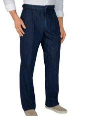100% Cotton Denim D-ring Pleated Pants