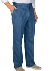 100% Cotton Denim D-ring Pleated Pants