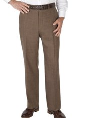 100% Wool Flannel Glen Plaid Flat Front Pants