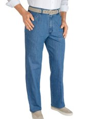 100% Cotton Denim D-ring Flat Front Pants
