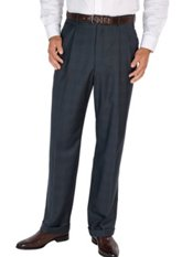 100% Wool Micro Glen Plaid Pleated Pants