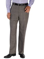 100% Wool Flannel Houndstooth Flat Front Pants
