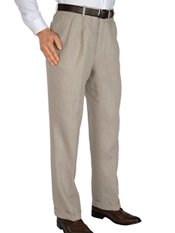 Solid Pure Linen Pleated Pants