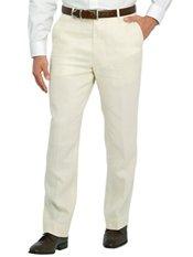 Solid Pure Linen Flat Front Pants