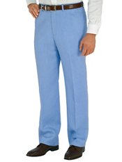 Solid Pure Linen Flat Front Pants