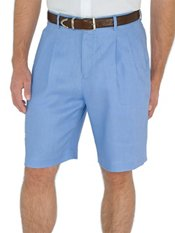 Solid Pure Linen Pleated Shorts