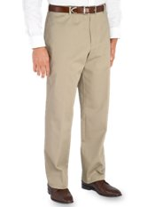 Non-Iron 100% Cotton Chino Flat Front Pants