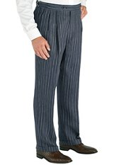 Navy Stripe Pure Linen D-ring Pleated Pants