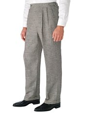 Black & White Houndstooth Pure Linen D-ring Pleated Pants