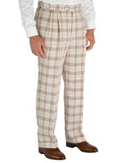 Brown Plaid Pure Linen D-ring Pleated Pants