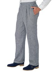 Navy Check Pure Linen D-ring Pleated Pants