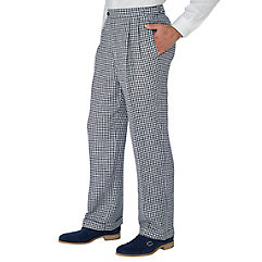 Navy Check Pure Linen D-ring Pleated Pants $40.00 AT vintagedancer.com