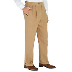 Brown Solid Pure Linen D-ring Pleated Pants $60.00 AT vintagedancer.com