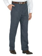 Navy Stripe Pure Linen Flat Front Pants