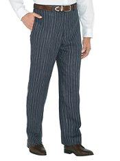 Navy Stripe Pure Linen Flat Front Pants
