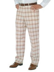 Brown Plaid Pure Linen Flat Front Pants