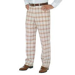 Brown Plaid Pure Linen Flat Front Pants $40.00 AT vintagedancer.com