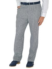 Navy Check Pure Linen Flat Front Pants